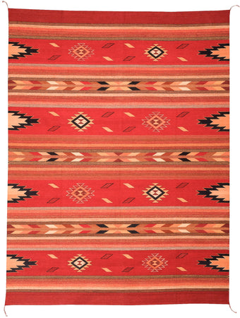 Handwoven Zapotec Indian Rug - Embers Rojo Wool Oaxacan Rug