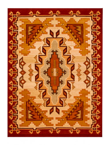 Handwoven Zapotec Indian Rug - Philarosa Lincoln Wool Oaxacan Textile
