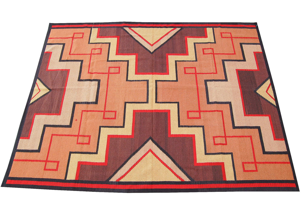 Handwovn Zapotec Indian Rug - Montealban Wool Oaxacan Textile