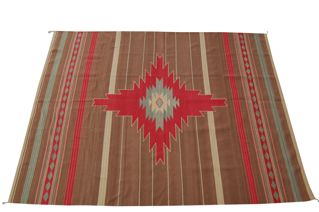 Handwoven Zapotec Indian Rug - Morning Star Wool Oaxacan Textile