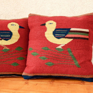 Handwoven Zapotec Pillow - Bird Wool Oaxacan Textile