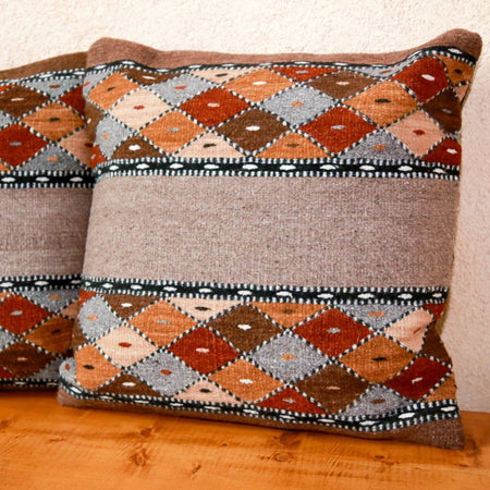 Handwoven Zapotec Pillow - Book Cliffs Wool Oaxacan Textile
