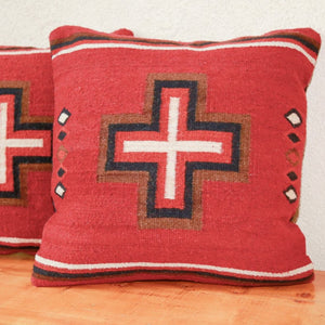 Handwoven Zapotec Indian Pillow - Cross with Diamonds Wool Oaxacan Textile