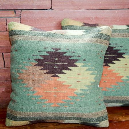 Handwoven Zapotec Indian Pillow - Cuatro Estancias Wool Oaxacan Textile