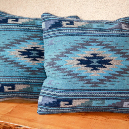 Handwoven Zapotec Indian Pillow - Diamante Azul Wool Oaxacan Textile