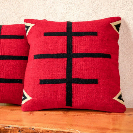 Handwoven Zapotec Indian Pillow - Doble Cruces Rojo Wool Oaxacan Textile