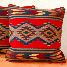 Load image into Gallery viewer, Handwoven Zapotec Indian Pillow - Efrain's Red Wool Oaxacan Textile