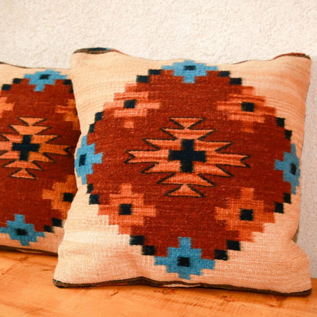 Handwoven Zapotec Indian Pillow - Endiamantina Wool Oaxacan Textile