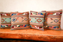 Load image into Gallery viewer, Handwoven Zapotec Indian Pillow - Ganchos y Medallions Verdes Wool Oaxacan Textile