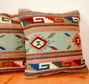 Handwoven Zapotec Indian Pillow - Ganchos y Medallions Verdes Wool Oaxacan Textile