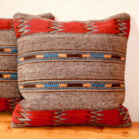 Handwoven Zapotec Indian Pillow - Guatemalteco Azul Wool Oaxacan Textile