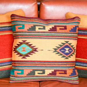 Handwoven Zapotec Indian Pillow - Midday Mayanrd Dixon Wool Oaxacan Textile