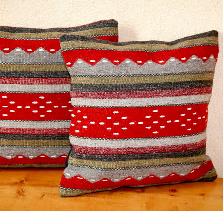 Handwoven Zapotec Indian Pillow - Montanitas Rojas Wool Oaxacan Textile