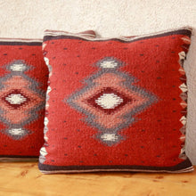 Load image into Gallery viewer, Handwoven Zapotec Indian Pillow - Soplador Rust Wool Oaxacan Textile