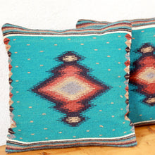Load image into Gallery viewer, Handwoven Zapotec Indian Pillow - Soplador Turquoise Wool Oaxacan Textile
