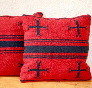 Handwoven Zapotec Indian Pillows - Spider Woman's Cross Wool Oaxacan Textile