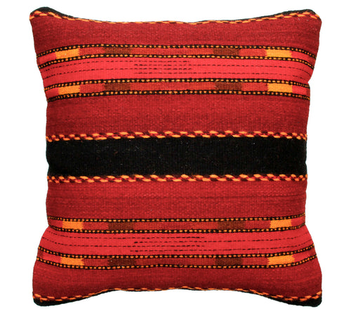 Handwoven Zapotec Indian Pillow - Triquis Rojo Wool Oaxacan Textile