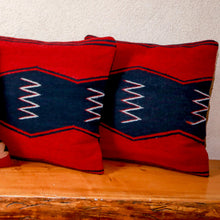 Load image into Gallery viewer, Handwoven Zapotec Indian Pillow - Zig Zag Wool Oaxacan Textile