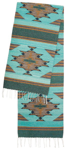 Handwoven Zapotec Indian Table Runner - Aqua Vallarta Wool Oaxacan Textile