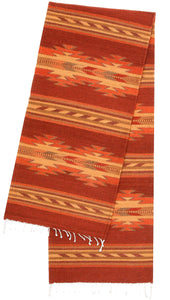 Handwoven Zapotec Tablerunner - Autumn Crystal Wool Oaxacan Textile