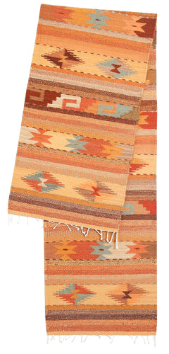 Handwoven Zapotec Tablerunner - Autumn Crystal Medallions Wool Oaxacan Textile