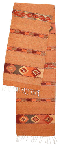Handwoven Zapotec Table Runner - Autumn Medallions Wool Oaxacan Textile