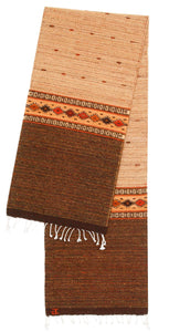 Handwoven Zapotec Indian Table Runner - Earth and Sky Dusk Wool Oaxacan Textile