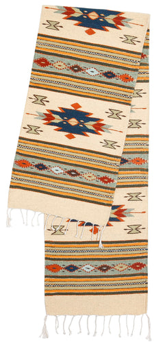 Handwoven Zapotec Indian Table Runner - Efrain's Diamantes Wool Oaxacan Textile