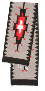 Handwoven Zapotec Indian Table Runner - Kaibito Grey Wool Oaxacan Textile