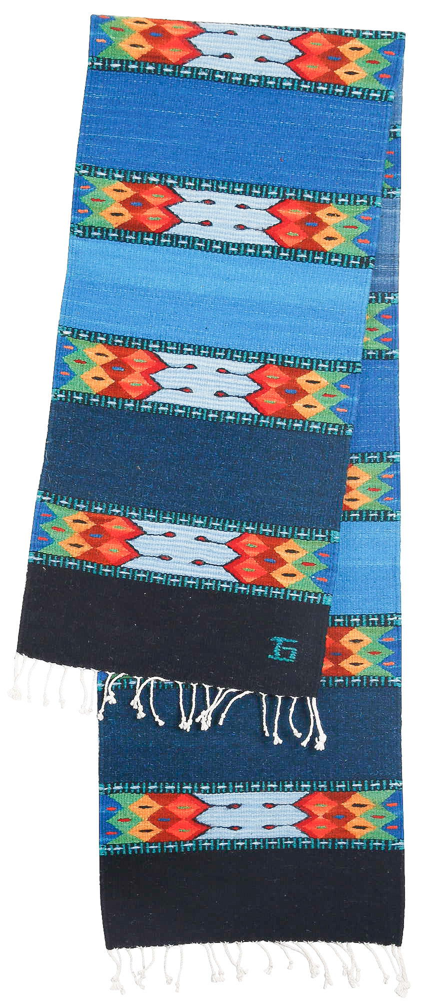 Handwoven Zapotec Indian Table Runner - La Playa Wool Oaxacan Textile
