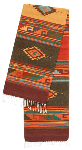 Handwoven Zapotec Indian Table Runner - Midday Manard Dixon Wool Oaxacan Textile