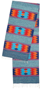 Handwoven Zapotec Indian Table Runner - Papalote Fiesta Wool Oaxacan Textile