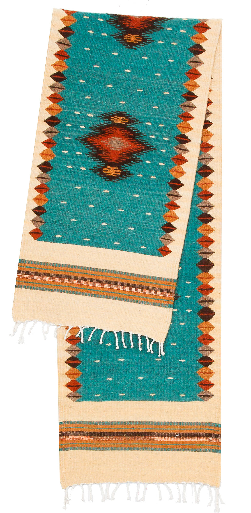 Handwoven Zapotec Indian Table Runner - Soplador Turquoise Wool Oaxacan Textile