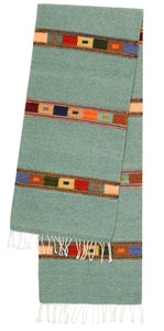Handwoven Zapotec Indian Table Runner - Tipo Peru Jade Wool Oaxacan Textile