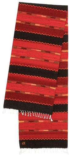 Handowven Zapotec Indian Table Runer - Triquis Rojo Wool Oaxacan Textile