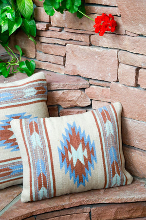 Handwoven Zapotec Indian Pillow - Paradise Stream Wool Oaxacan Textile
