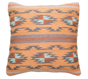 Handwoven Zapotec Indian Pillow - Crystal Azul Wool Oaxacan Textile