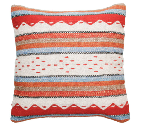 Handwoven Zapotec Indian Pillow - Montanitas Azul y Rojo
