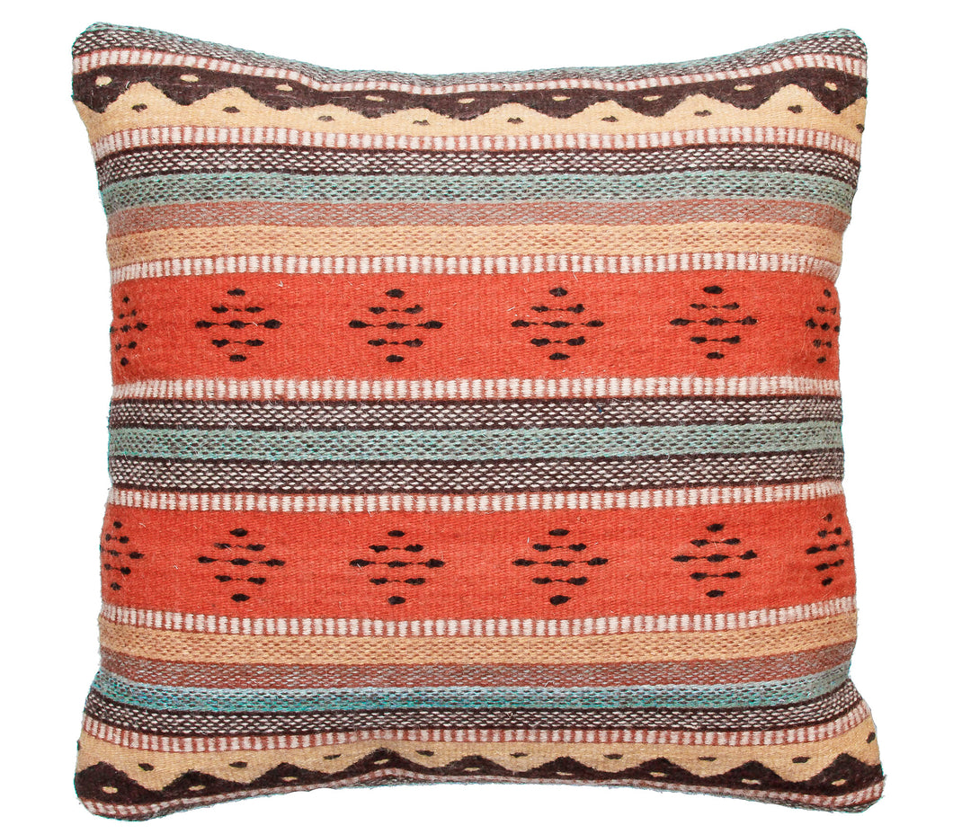 Handwoven Zapotec Indian Pillow - Montanitas Meli Wool Oaxacan Textile