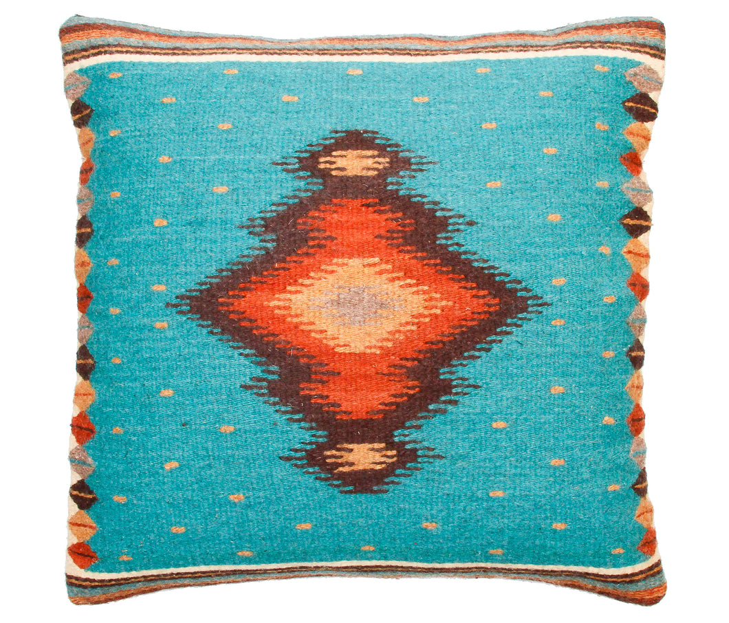 Handwoven Zapotec Indian Pillow - Soplador Turquoise Wool Oaxacan Textile