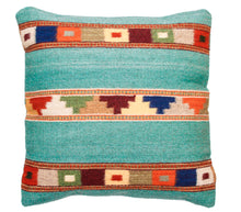 Load image into Gallery viewer, Handwoven Zapotec Indian Pillow - Tipo Peru jade Wool Oaxacan Textile