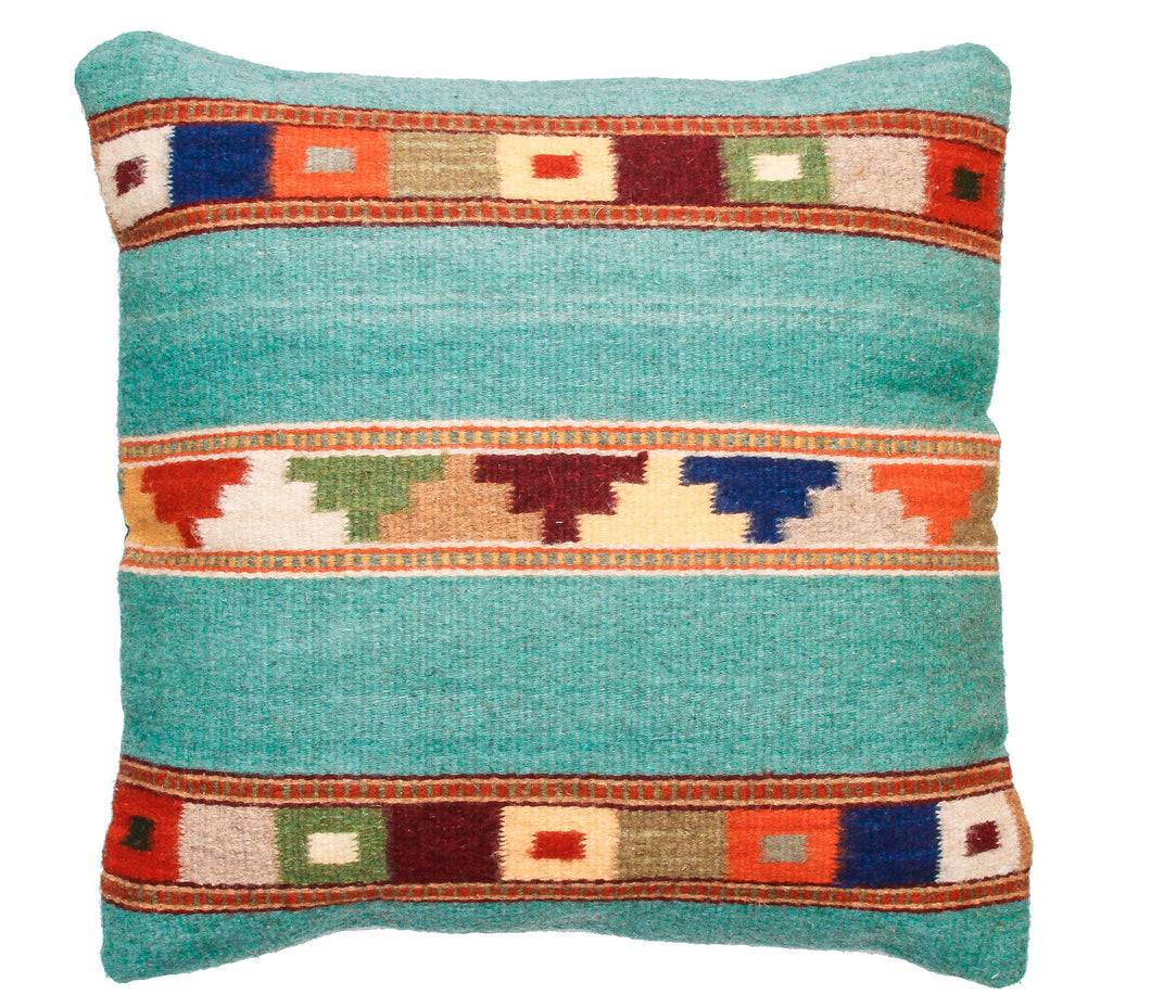 Handwoven Zapotec Indian Pillow - Tipo Peru jade Wool Oaxacan Textile