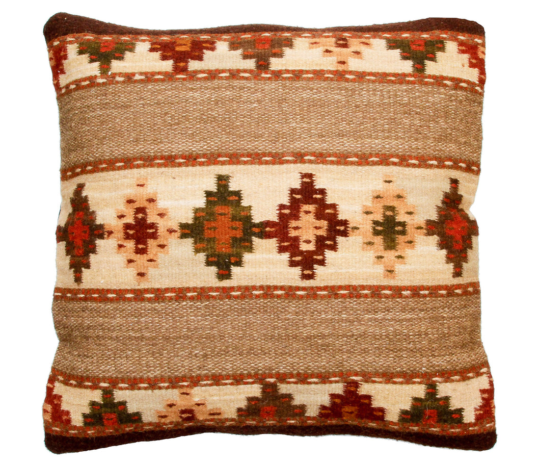 Handwoven Zapotec Indian Pillow - Yagul Wool Oaxacan Textile