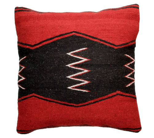 Handwoven Zapotec Indian Pillow - Zig Zag Wool Oaxacan Textile