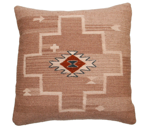 Handwoven Zapotec Pillow - Spirit Diamond Wool Oaxacan Textile