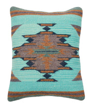 Load image into Gallery viewer, handwoven Zapotec Indian Pillow - Aqua Vallarta Wool Oaxacan Textile