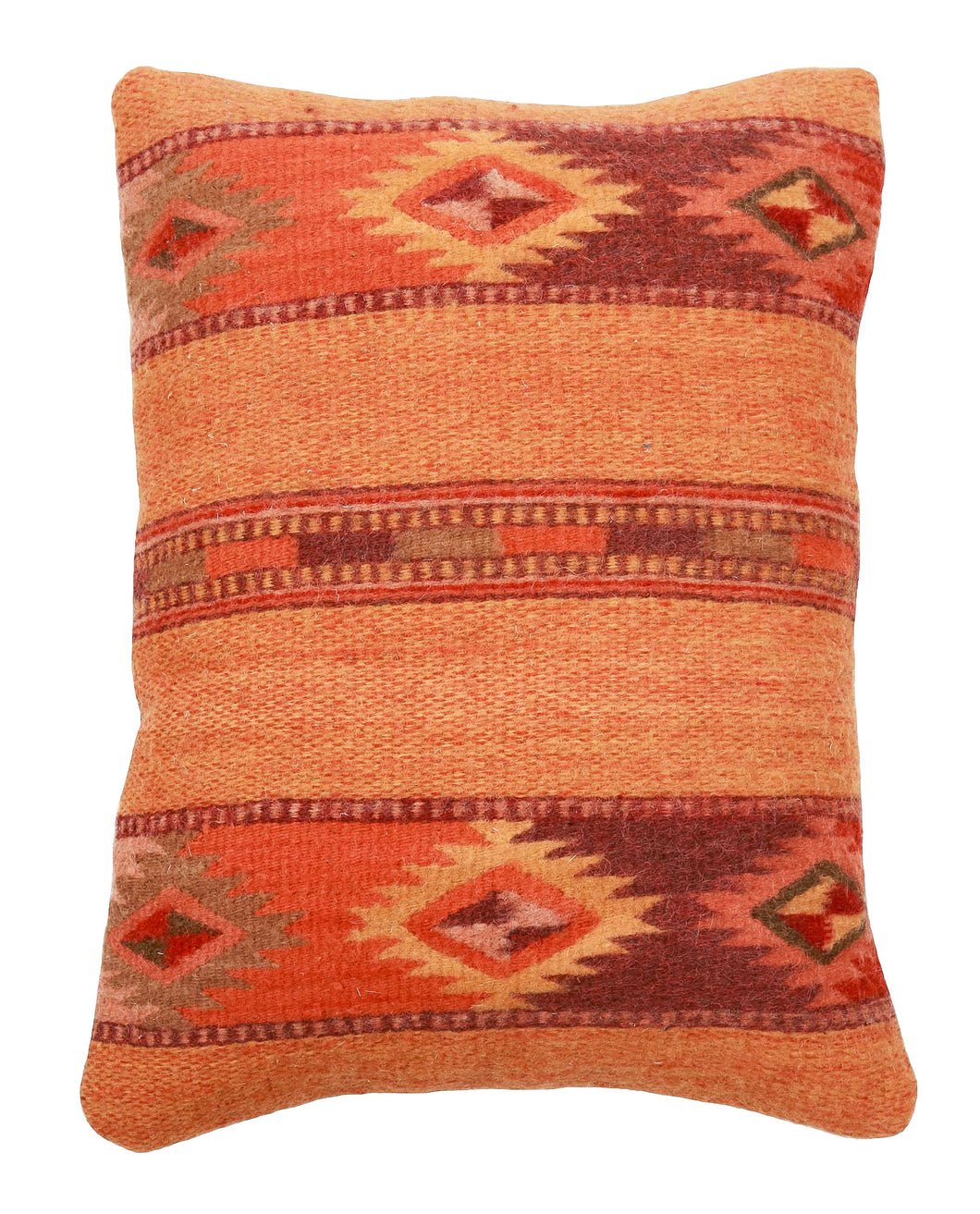 Handwoven Zapotec Indian Pillow - Autumn Medallion Wool Oaxacan Textile