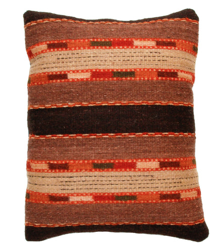 Handwoven Zaoptec Indian Pillow - Triquis Negro Wool Oaxacan Textile
