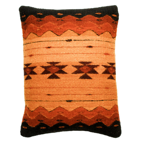 Handwoven Zapotec Indian Pillow - Zapotec Sunset Wool Oaxacan Textile