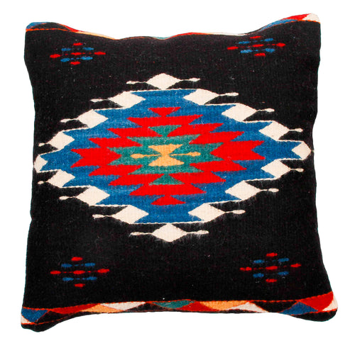 Handwoven Zapotec Indian Pillow - Diamante Negro Wool Oaxacan Textile
